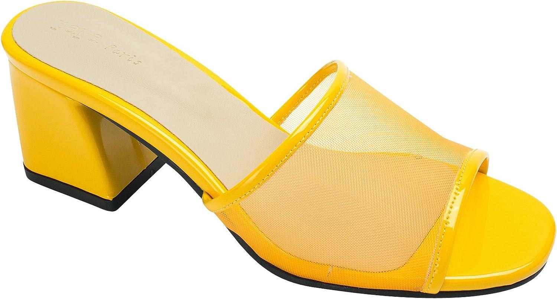 AnnaKastle Womens Mesh Strap Heel Mule Sandal