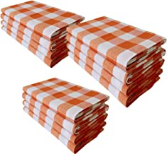 Linen Clubs Pack of 12 Apricoat Orange/White 100% Cotton Yarn Dyed Gingham Check Dinner Napkins 18x18Inch,Clambake Beach Party Nautical Dinner Napkins as Well Offered