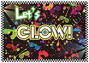 Allenjoy 7x5ft Fabric Let's Glow in The Dark Theme Backdrop Decorations for Adult Neon Birthday Party Supplies Teen Tween Doodle Disco Sleepover Table Decor Banner Background Children Photo Booth