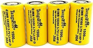 IMR 18350 Lithium Rechargeable Battery 1500mAh 3.7V 30A High Drain Flat Top (4pcs Real Capacity 700mah)