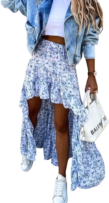 Women Summer Boho Floral Print Long Skirt Chic High Low Side Split Ruffle Hem Elastic Waist Swing Maxi Irregular A-line Skirt