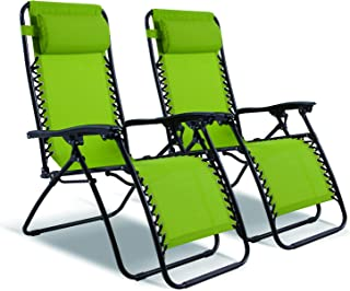 Captiva Designs 2 Pack Zero Gravity Textilene Lounge Folding Chair for Outdoor Patio Use (Green)
