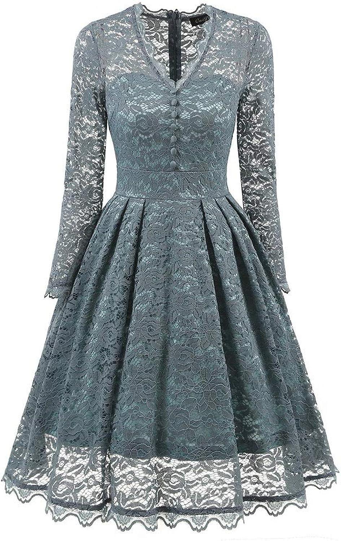 NEOART Women Vneck Long Sleeve Lace Hollow Swing Dress Daily Dress