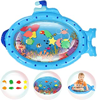 Jeteven Alfombra Inflable del Agua para Bebé, Baby Water Mat Tapetes De Juego Inflables A Prueba De Fugas Blue Submarine, para el Desarrollo Temprano del Bebé(86x68CM)