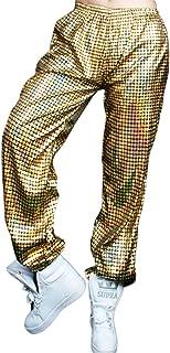 Hoohu Adult Hip Hop Baggy Laser Harem Elastic Waist Loose Fit Pants Trousers Sweatpants for Dancewear Active Sports Jogger