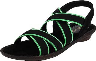 Catwalk Women's Neon Accent Strappy Sandals