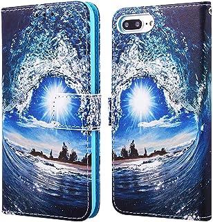 جراب محفظة EnjoyCase لهاتف iPhone 8 Plus 5.5 بوصة، نمط شمس ملون مموج من جلد البولي بوريثان بفتحات للبطاقات جراب قلاب مغناط...