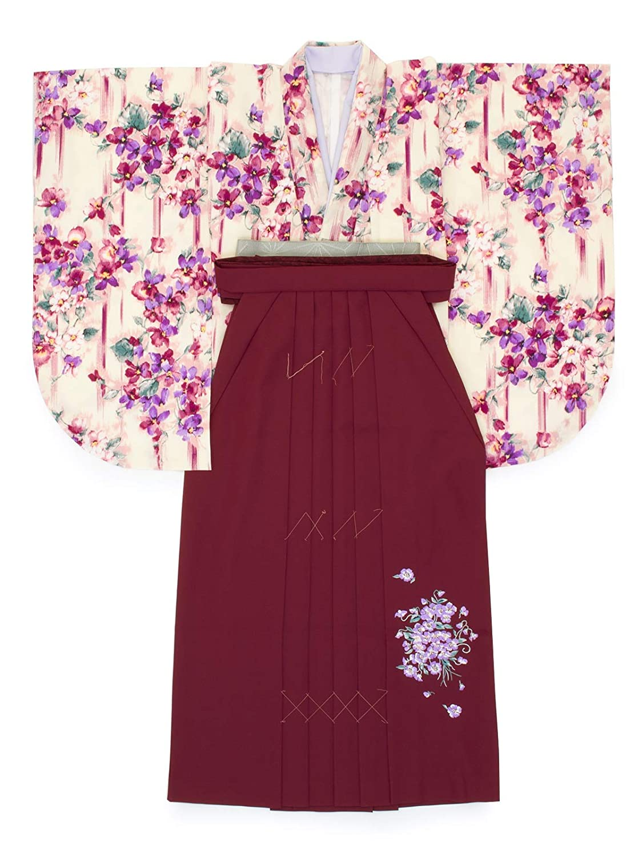 (ソウビエン) 袴セット JILLSTUART 白系 赤 ピンク 小花 フラワー 重衿付 L