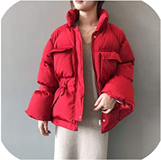 Ches Thick Stand Collar Winter Coat Women Warm Solid Short Pockets Bow Parkas Korean Sweet Fashion Jacket