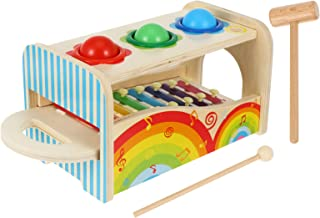 TOYANDONA Toddler Xylophone Toy Pound Tap Bench with Slide out Xylophone Early Educational Musical Pounding Toy for Kids C...