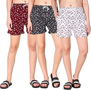 Kiba Retail Casual Wear Cotton Check/Printed Shorts for Women's and Girl's Pack of 3 {Size-26, 28, 30, 32, 34}Color-Multicolor