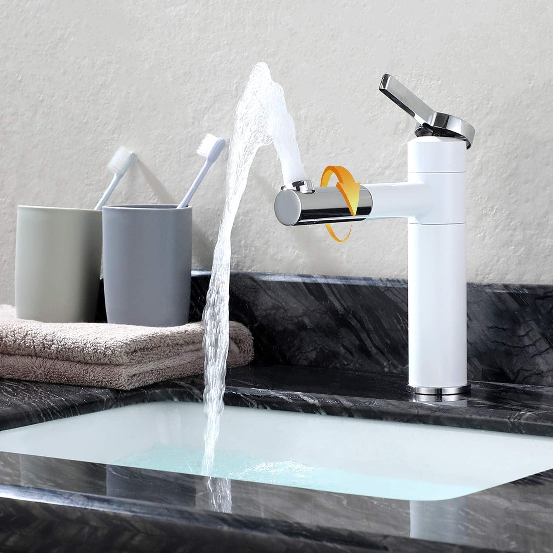 DFBGFMN Bad Waschtischarmatur mit Drehbar Auslauf, Waschtischmischer Wei Waschbecken Wasserhahn aus Massivem Messing Armatur Mischbatterie Einhebelmischer Weiss Lack für Badezimmer