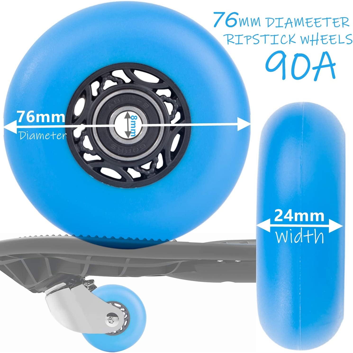 AOWESM 2 PCS RipStik Wheels 76mm Ripsurf Wheels 68mm Ripster Wheels 90A Ripstick DLX Caster Board Replacement Wheel Set with Bearings ABEC-9