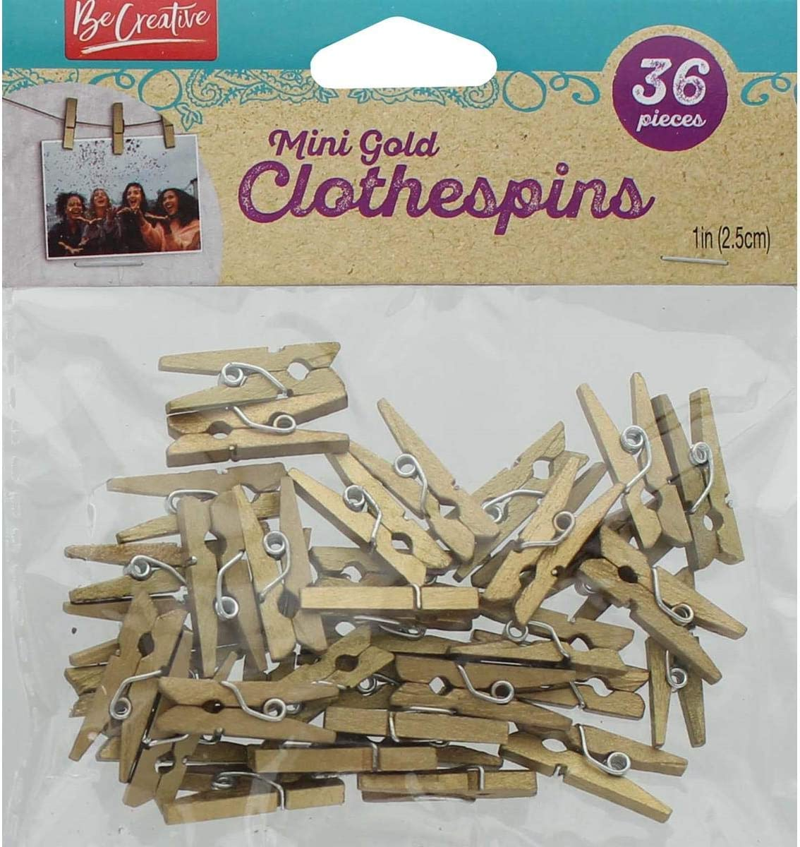 Leisure Arts Mini Year-end annual account Outlet SALE Clothespins Piece 36 Gold