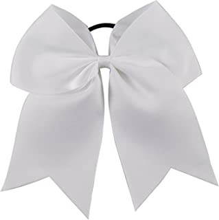 Kenz Laurenz Cheer Bows White Cheerleading Softball - Gifts for Girls and Women Team Bow with Ponytail Holder Complete Your Cheerleader Outfit Uniform Strong Hair Ties Bands Elastics