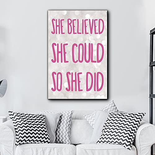 Vintage Wood Sign Grey She Believed She Could So She Did Sign Graduation Gift Strong Women Home Decor Wall Plaque