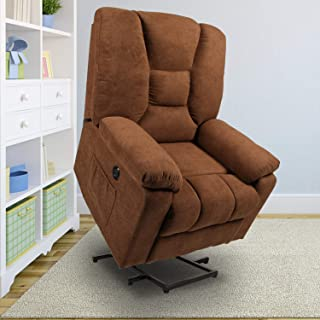 oneinmil Power Lift Recliner Chair - Massage Chairs Full Body and Recliner Heated Lift Chairs for Elderly w/Button & Remote Control USB Charging Ports Fabric Sofa (Coffee)