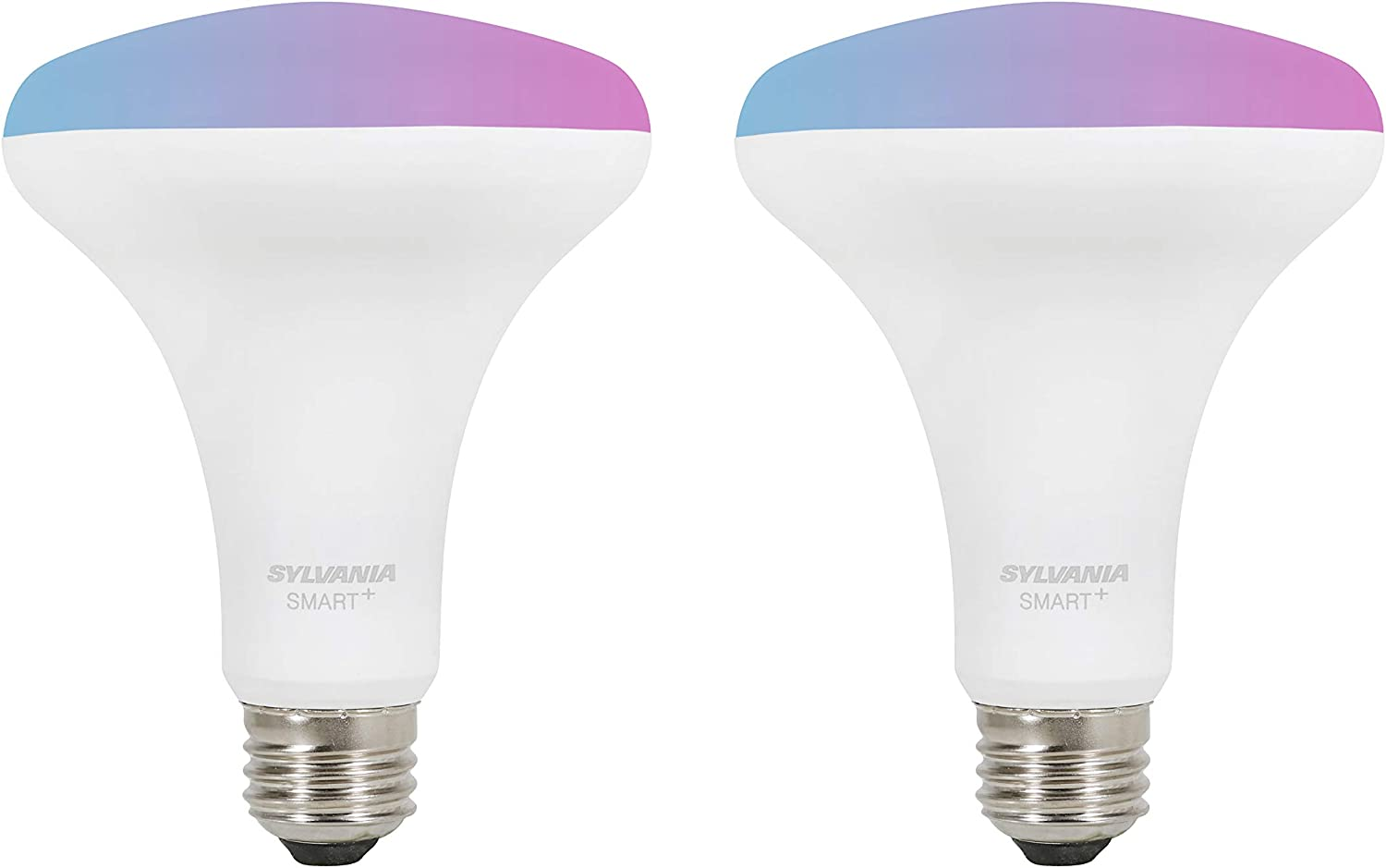 SYLVANIA Bluetooth Mesh LED Smart Light Bulb, One Touch Set Up, BR30 65W Replacement, E26, RGBW Full Color & Adjustable White, Works with Alexa Only - 2 PK (75762)