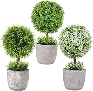 Winlyn 3 Pack Artificial Potted Plants Mini Boxwood Topiary Green Grass Ball Greenery in Pots Small Houseplants for Indoor Office Tabletop Décor Centerpiece 9.8