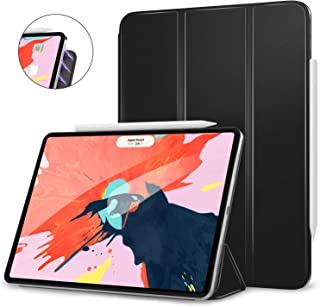 """MoKo Smart Folio Case Fit iPad Pro 12.9"""" 2018 - [Support Magnetically Attach Charge/Pair] Slim Lightweight Smart Shell Stand Cover, Strong Magnetic Adsorption, Auto Wake/Sleep - Black"""
