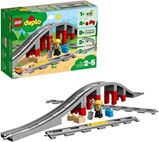 LEGO 10872 DUPLO Town Tågbro och spår, Leksakståg för Små Barn, Byggklossar med Ljud, Barnleksaker