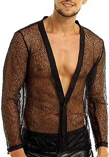 Men's See Through Fishnet Top Long Sleeve Mesh Blazer Jacket Clubwear