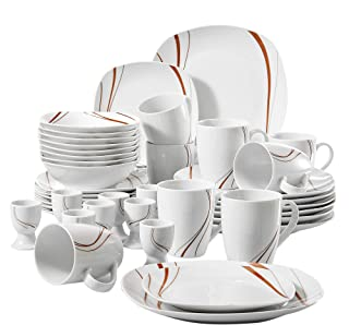 Veweet BONNIE 40pcs Service de Table Pocelaine 8pcs - Assiettes Plates 24,6cm, Assiette à Dessert 19cm, Bols à Céréales 17...