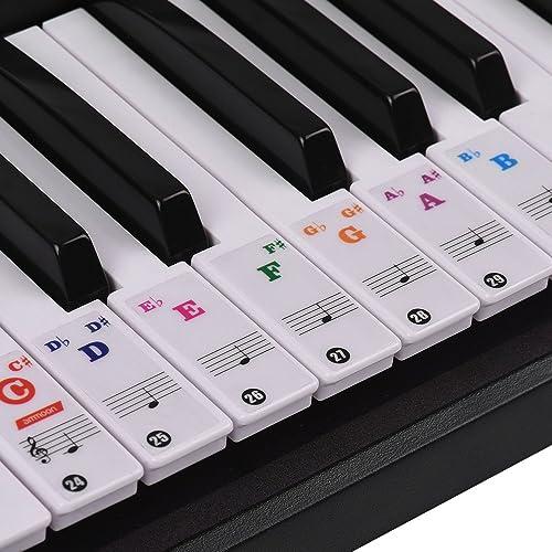 ammoon Autocollants Colorés de Clavier de Piano pour 37/49/61/88 Touches Claviers Amovibles Transparents pour Enfants...
