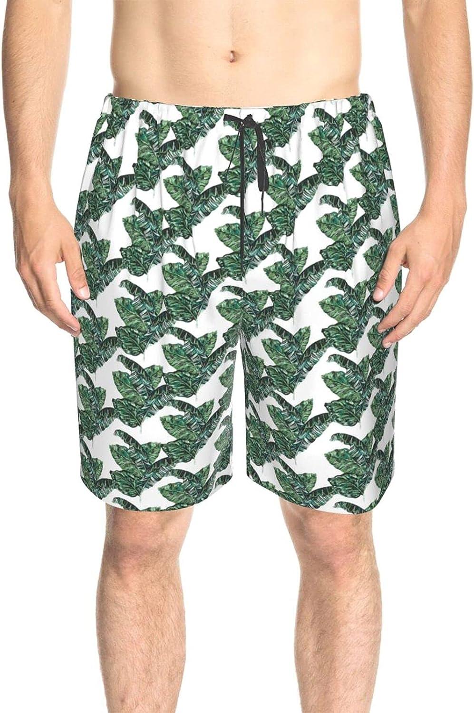 JINJUELS Men's Swim Shorts Tropical Banana Leaves Swim Short Boardshort Drawstring 3D Printed Beach Swim Trunk