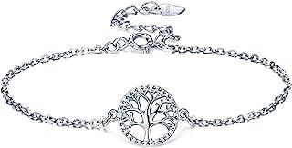 Lydreewam árbol de la Vida Pulsera para Mujer Plata de Ley 925 con Caja de Regalo, Ajustable 16+3cm