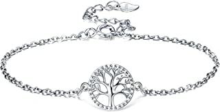 Lydreewam Arbre de Vie Bracelet pour Femme Argent Sterling 925 Cadeau de fête des mères, Réglable 16 + 3cm