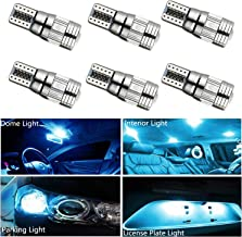 HOCOLO T10 198 194 168 912 921 W5W 2825 White Amber/Yellow Blue Green Red Ice Blue Color For Interior Dome/Map/License Plate/Parking/Door/Trunk Lights (6pcs T10 6-SMD Canbus Error Free, Ice Blue)