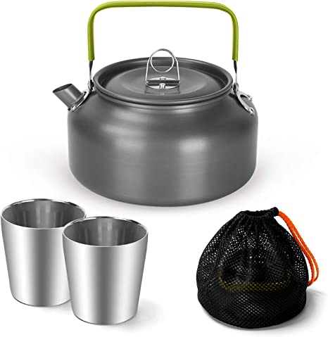 Odoland 1.2L Camping Kettle Set with 2 Cups, Lightweight Aluminum Camp Tea Coffee Pot with 2 Stainless Steel Cups for Hiking, Backpacking, Camping and Picnic, Carrying Bag