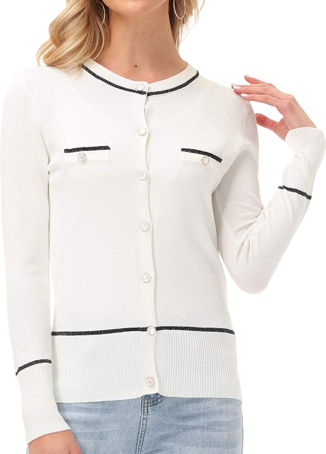 GRACE KARIN Womens Long Sleeve Button Down Crew Neck Classic Sweater Knit Cardigan
