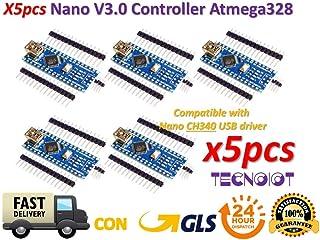 TECNOIOT 5pcs Nano V3.0 Controller Board Atmega328P Compatible Nano V3 CH340