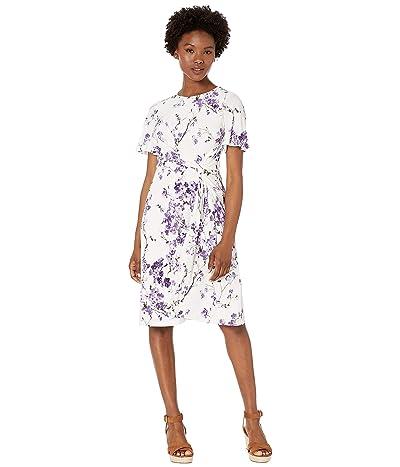 LAUREN Ralph Lauren Petite Vemalyn Dress (Colonial Cream/Purple/Multi) Women