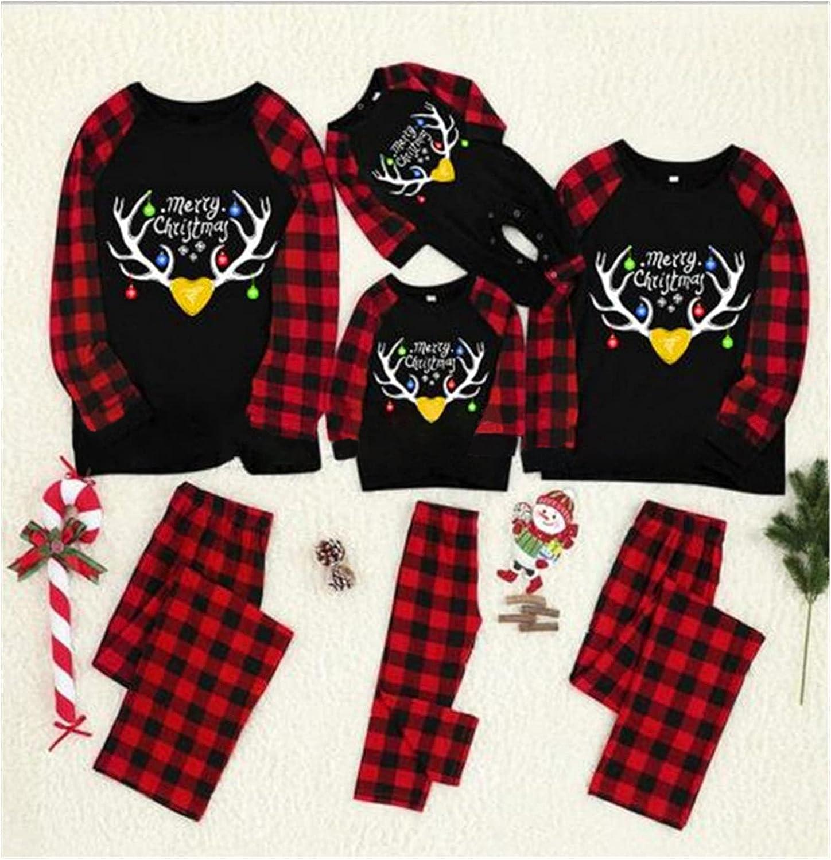 Christmas Pajamas Family Matching Pyjamas Sets Printed Elk Plaid Sleepwear Sleepwear for Women Men Kids Baby (Color : Red, Size : Men (Dad) L)