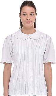 Cotton Lane Peter Pan Collar Short Sleeve Blouse