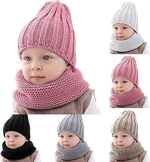 Haokaini, bebé Invierno más cálido Sombrero pañuelo de Punto de Color Puro Gorro Conjunto para niños niñas
