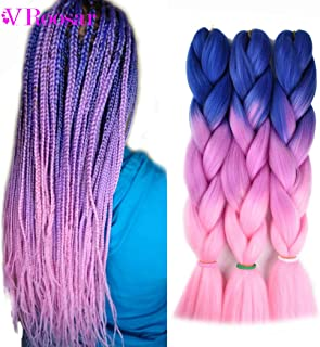 Jumbo Braiding Hair Ombre Color 3Pcs/lot Synthetic Hair Extensions 3 Tone Braiding Hair 100g/pcs Kanekalon Fiber For Twist Braiding Hair (Blue-Purple-Pink)