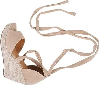 Womens Lace Up Wedge Espadrille Sandals Peep Toe Criss Cross D'Orsay Dress Sandals