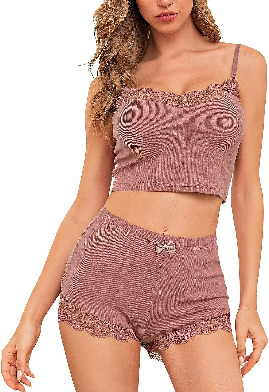 ECHOINE Women Ribbed Pajama Set - Sexy Soft V Neck Lace Sleeveless Cami with Shorts Set Nightwear
