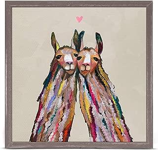 GreenBox Art + Culture Llama Love by Eli Halpin 6 x 6 Mini Framed Canvas, Rustic Natural