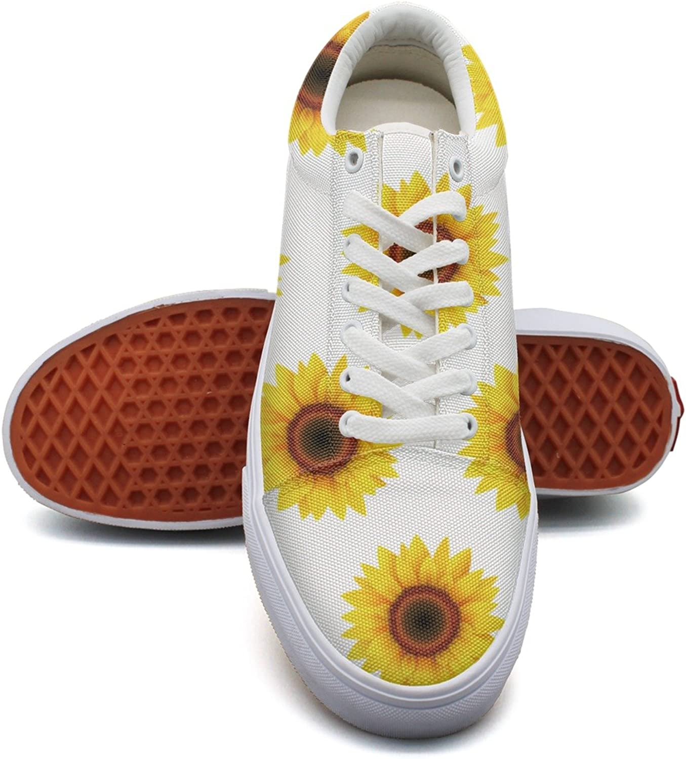 Feenfling Sunflower Floral Repeat Womens Fashion Canvas Sneakers Low Top Neon Sneaker for Women