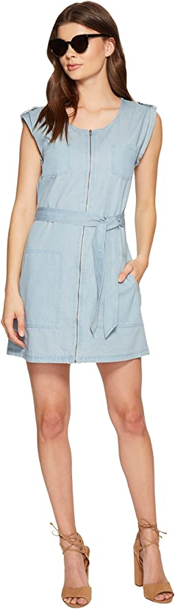 Stefania Washed Out Chambray Zip Front Dress