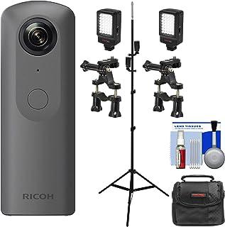 Ricoh Theta V 360度球状 4K HDデジタルカメラ ライトスタンド付き + LEDライト2個 + バーマウント2個 + リアルエステート&ストリートビュー用ケースキット
