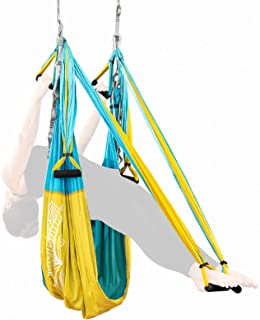 Adult Yoga Swing Kit - Hanging Aerial Yoga Equipment System for Body Inversion, Flexibility and Exercise - Parachute Fabric Hammock Sling with Rubber Grip Handles & Carabiners - Hammock Strap