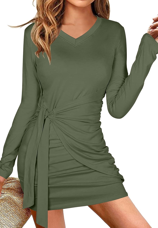 UNIQUEONE Women Casual Long Sleeve T Shirt Dress V Neck Solid Color Ruched Tie Waist Bodycon Mini Dresses