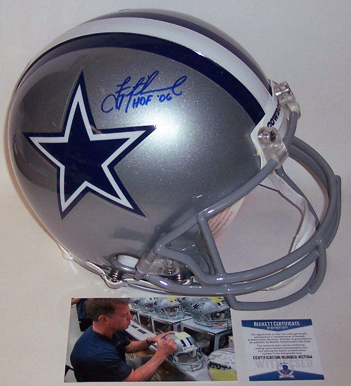 Troy Aikman Autographed Hand Dallas Cowboys Authentic Full Size Helmet  BAS Beckett