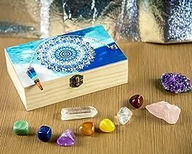 HTW Chakra Healing Stones & Crystals   Natural Meditation Gemstones - Amethyst, Rose Quartz, Citrine   7 Tumble Stones & 7 Pendulum Crystals   Gift Box Beginners Set with Unique Blue Mandala Design